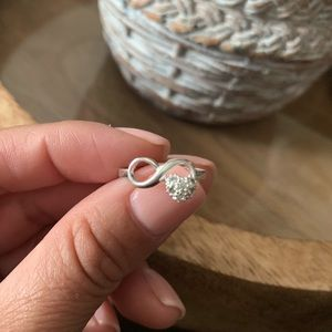 Infinity Symbol & Heart Sterling Silver Ring